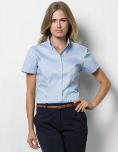 K701 Kustom Kit Women´s Corporate Oxford Shirt Short Sleeve hellblau