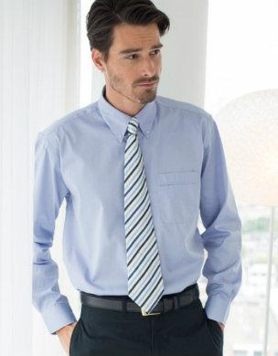 W550 Henbury Men's Long Sleeved Pinpoint Oxford Shirt hellblau