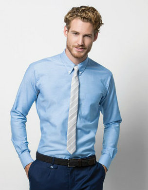 K184 Kustom Kit Slim Fit Workwear Oxford Shirt Long Sleeve hellblau