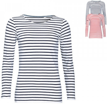 SOLS Womens Long Sleeve Striped T-Shirt Marine L01403