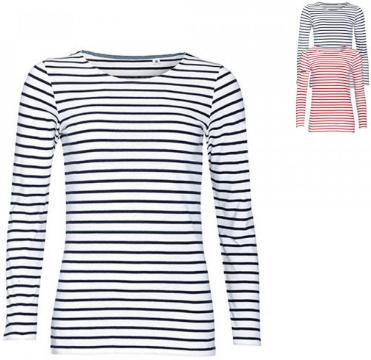 SOLS Womens Long Sleeve Striped T-Shirt Marine L01403