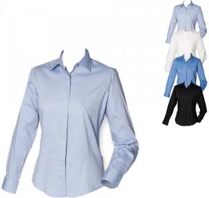 Henbury Langarm Oxford Hemd für Damen Easy-Care Ausrüstung W551