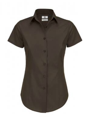 BC Poplin Shirt Black Tie Short Sleeve Damen Coffee Bean