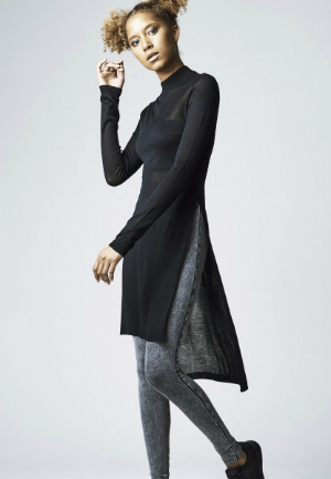 Ladies Fine Knit Turtleneck Long Shirt