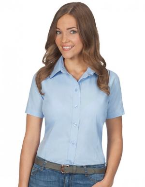 Bluse mit Kent-Kragen kurzarm leicht tailliert