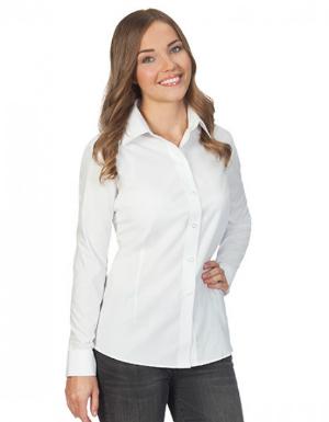 Bluse mit Kent-Kragen langarm leicht tailliert