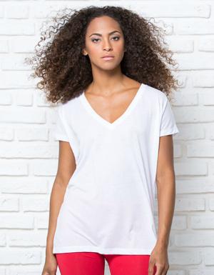 Weisses Oversize T-Shirt mit V-Ausschnitt fuer Damen