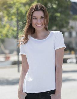 Weisses T-Shirt aus gekaemmter Bio Baumwolle fuer Damen