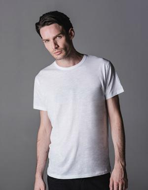 Weisses T-Shirt mit geradem Saum fuer Herren