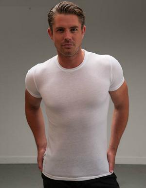 Weisses T-Shirt mit modisch enger Passform fuer Herren