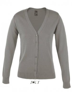Damen Cardigan mit V-Ausschnitt von SOLS Farbe Grau