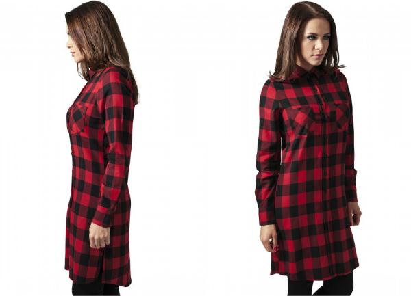 Ladies Checked Flanell Shirt Dress