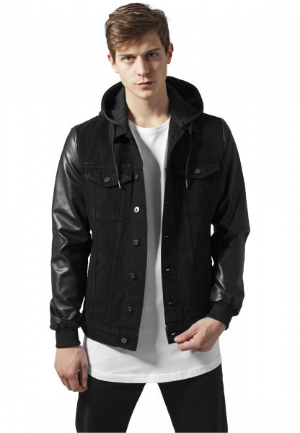 Hooded Denim Leather Imitation Jacke von URBAN CLASSICS