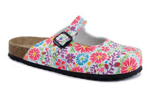 Softwaves Damenclog mit floralem Print weiss bunt