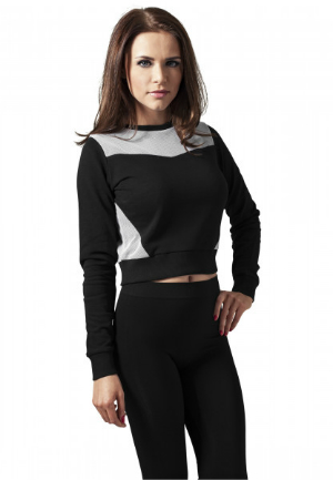 Cropped Sweat Shirt aus Mesh Terry Crew
