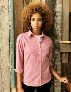 Premier Workwear Ladies Microcheck (Gingham) Long Sleeve Shirt