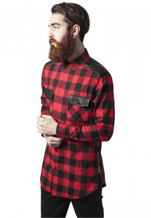 Urban Classics Side Zip Leather Shoulder Flanell Shirt