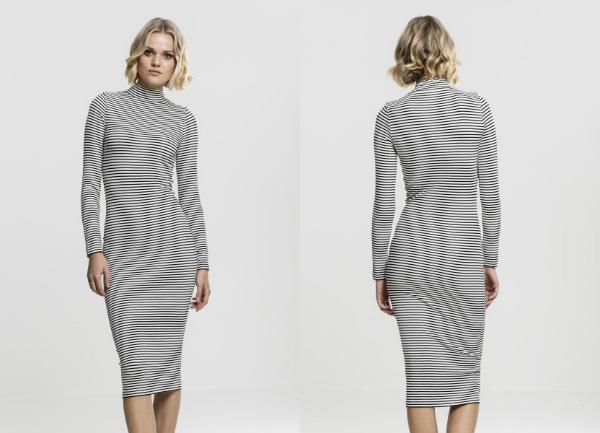 Kleid langarm Turtleneck gestreift Rippmaterial in Ringel-Optik figurbetonend lang schmal