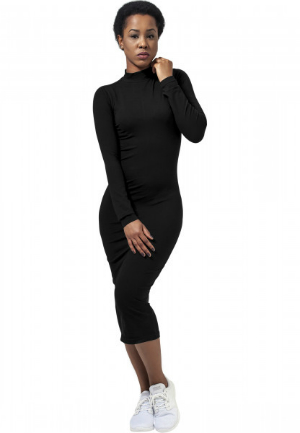 Langarm Turtleneck Kleid aus Single Jersey fuer Damen