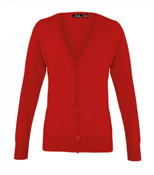 Roter Cardigan aus Feinstrick mit V-Ausschnitt und Knopfleiste