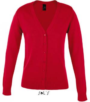 Roter Strick-Cardigan mit V-Ausschnitt und Knopfleiste