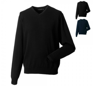 Russell Collection Herren Strick Pullover mit V-Ausschnitt