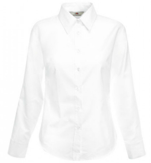Fruit of the Loom Lady-Fit Langarm Oxford Bluse Weiss