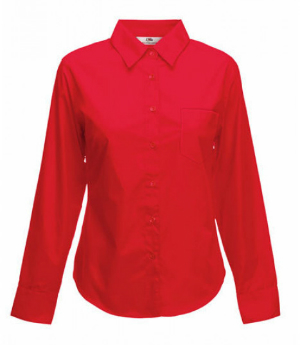 Fruit of the Loom Lady-Fit Langarm Poplin Bluse Rot