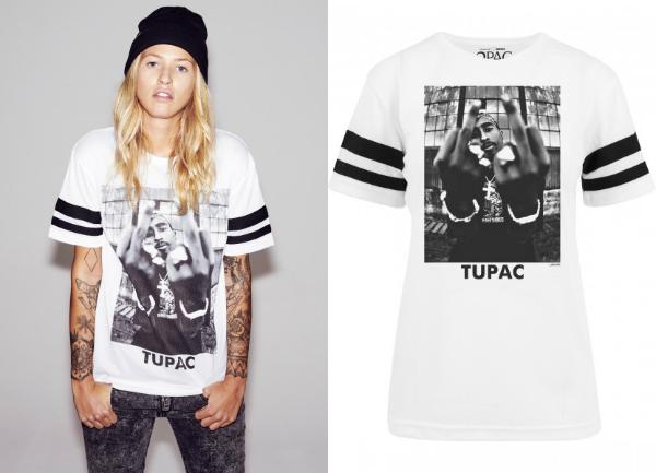 Gestreiftes 2Pac T-Shirt fuer Damen