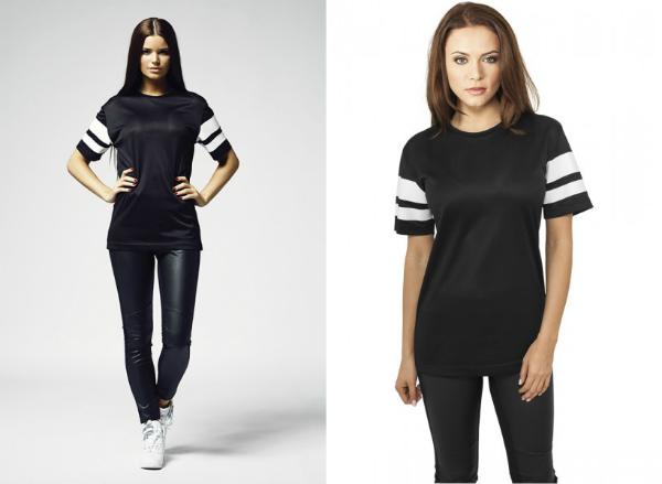 Gestreiftes Mesh T-Shirt fuer Damen