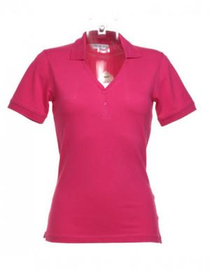 Kustom Kit Sophia Comfortec V-Ausschnitt Poloshirt Farbe Himbeer