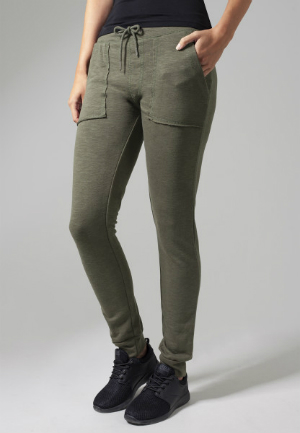 Ladies Fitted Slub Terry Pants Olive