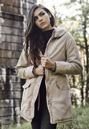 Ladies Garment Washed Long Parka Sand