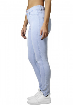 Ladies High Waist Skinny Denim Pants Light Blue