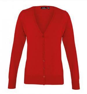 Premier Workwear Damen Knopfleiste Cardigan Rot