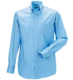 Russell Collection Buegelfreies langaermeliges Herrenhemd Blau