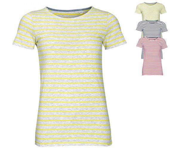 SOLS Damen Rundhals T-Shirt Miles gestreift