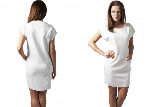 Urban Classics Scuba-Kleid fuer Damen Offwhite