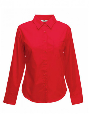 Fruit of the Loom Lady-Fit Long Sleeve Poplin Bluse red