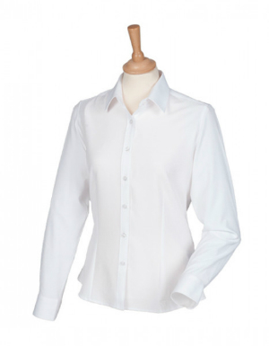 Henbury Ladies Wicking Long Sleeve Shirt White
