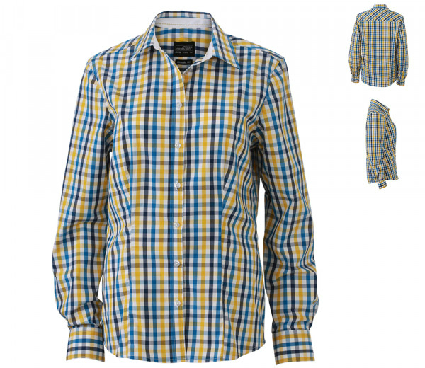 James+Nicholson Ladies Checked Blouse