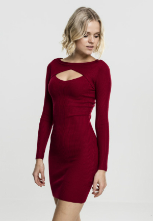 Ladies Cut Out Dress burgundy