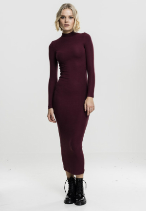 Ladies Long Turtleneck Dress cherry