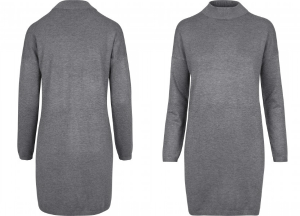 Ladies Oversized Turtleneck Dress grey