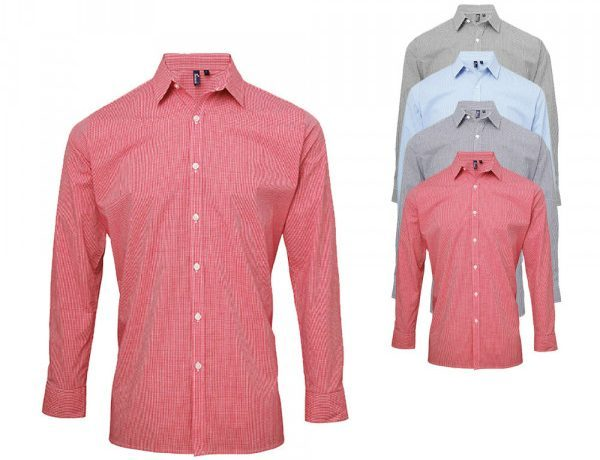 Premier Workwear Mens Microcheck Gingham Long Sleeve Shirt