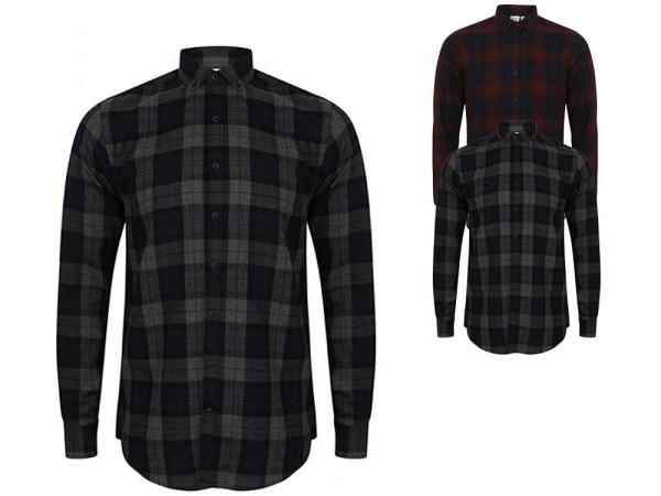 SF Men Mens Brushed Check Casual Shirt
