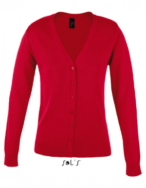 SOLS Golden Women V-Neck Knitted Cardigan red
