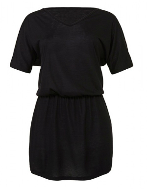 Bella Women´s Flowy V-Neck Dress Schwarz