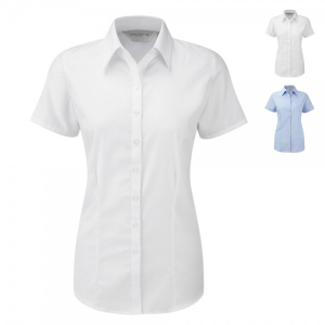 Russell Collection Herringbone Bluse Kurzarm