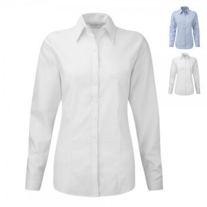 Russell Collection Herringbone Bluse Langarm